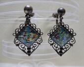 Vintage Mexican Sterling Filigree Art Glass Earrings Art Deco Iridescent Opalescent Signed Screw Back