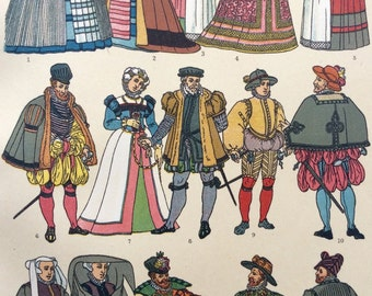 Antique French Chromolithograph 1890 Medieval Renaissance COSTUME FASHION Bookplate