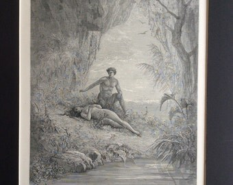 1870 MILTON'S PARADISE LOST Antique Engraving Gustave Doré 1st Edition Adam Eve Eden Bible Religion