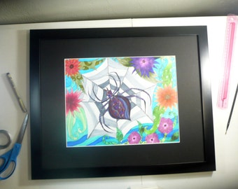Original pen and ink drawing, framed and ready to hang, Spider in web, abstract art, spider with web and flowers