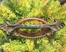 Antique Brass Drawer Pull Ornate Design with BakeLite  Art Deco Period Waterfall Style Pulls