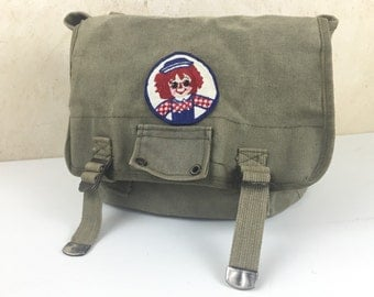 Vintage Army Backpack Raggedy Ann Patch Hipster Bag Small Army Green Book Bag