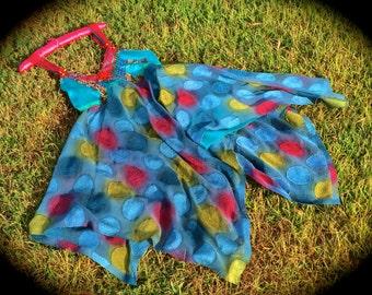 Vagabond Gypsy Dancing Dress Bohemian Beauty Aqua Exotic Silk Beads Lace OOAK Eye Candy