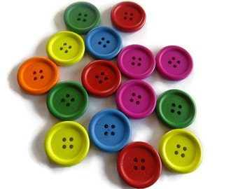 15 x 30mm Bright Colored Wooden Buttons - 30mm Wooden Buttons - Bright Buttons