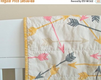 HURRY FLASH SALE Arrow Baby Quilt - Crib Quilt - Baby Blanket