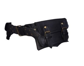VEGAN LEATHER utility belt, POCKET BELt, hip pack, waist pack, fanny pack, festival clothing, Vlbems