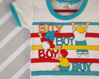 vintage baby boy striped ringer tee nwot nos deadstock size 6 9 12 months / 1 year