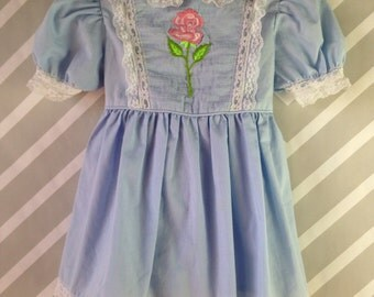 darling vintage baby blue with lace trim and embroidered flower dress by alyssa size 2 3 years