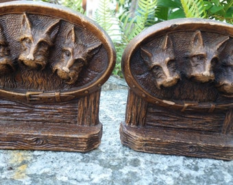 Vintage Scotty Dog Bookends, Scotty Dog Wooden Bookends