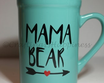 Mama Bear w/ Heart Arrow Mother's Day Ceramic Coffee Mug