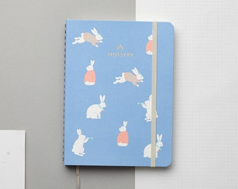 Bunny Blue Gold Foil Personalized Notebook/Sketchbook