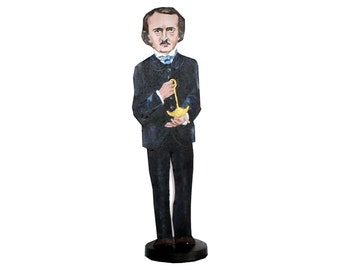 Edgar Allen Poe Hand Painted 2D Art Figurine