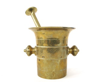 Antique Brass Mortar & Pestle
