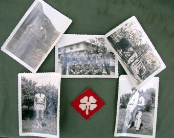 WW2 Photographs and 4th Army Shoulder Patch, Nice US Soldier photos and WW2 patch