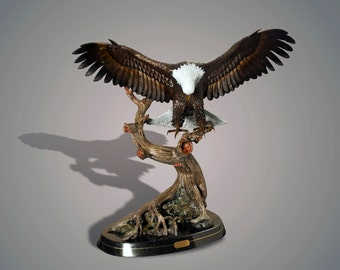 """Life Size Magnificent  Eagle Bronze """"Wings Of Fury"""" Sculpture by Barry Stein"""