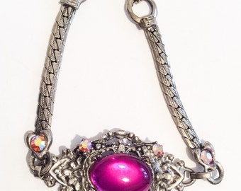 Art Deco Revival Bangle Bracelet, Magenta Glass, 1980s, Vintage Jewelry SPRING SALE