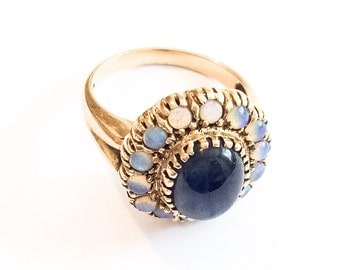 Opal Ring, Blue Sapphire Cabochon, Gold, Art Deco Vintage Jewelry SPRING SALE