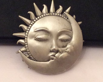 Crescent Moon, Sun, Pin or Brooch, 1970s Mid Century Vintage Jewelry SUMMER SALE