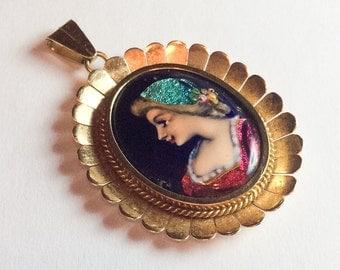 Enamel Victorian Lady Pendant, Iridescent, 18K Gold, Miniature Painting, Art Nouveau Vintage Jewelry WINTER SALE