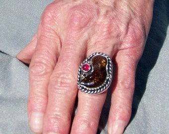 Fire Agate Ring with Ruby