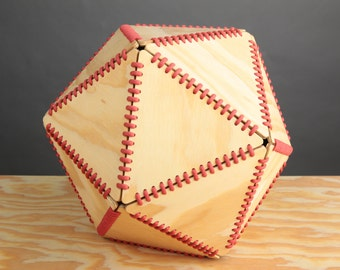 Decorative Geometric Icosahedron Stitched Wood D20 Basket Bowl