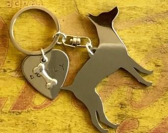 Rat Terrier Custom Keychain, American Rat Terrier, Rattie, Dog Breed Jewelry