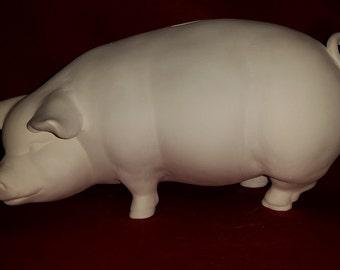 DIY Ready to Paint Ceramic Bisque A Large PIGGY BANK Unpainted Ceramic Bisque - Paint Your Own - U Paint Ceramic Bisque