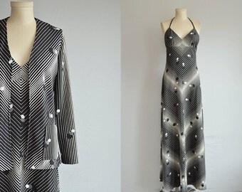 Vintage 70s Maxi Dress / 1970s Black Chevron Stripe Disco Halter Dress with Matching  Cardigan