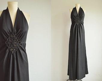 Vintage 70s Dress / 1970s Slinky Black Knit Disco Halter Maxi Dress