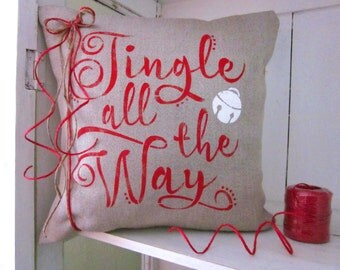 Christmas, READY TO SHIP holiday decor, christmas pillow, red holiday, jingle bells,   farmhouse style, rustic christmas,rustic pillows