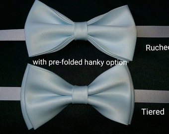 Iced blue, dusty blue bow tie with pre-folded hanky set, adult and kid size