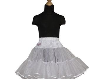 Girls 50's full volume petticoat double layer organdy with satin ribbon hem white underskirt tutu