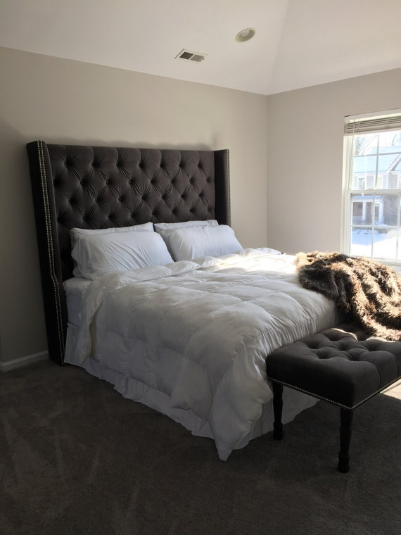 diamond tufted wingback headboard and bench set king extra. Black Bedroom Furniture Sets. Home Design Ideas