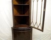Vintage Antique Inlaid Mahogany China Corner Cabinet Curio Display Cabinet Duncan Phyfe Sheraton Regency Style