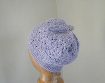 Women's Knit Hat, Lavender Purple, Alpaca Wool, Beanie Cap, Lace Design, Teen Girls Hat, Luxury Natural Fiber