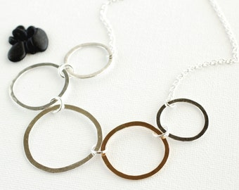 Mixed Metal Silver and Gold Filled Organic Rings Necklace