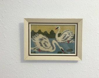 Vintage Swans, Framed Needlework, Vintage Framed Embroidery, Framed Swan Picture, Bird Cross Stitch