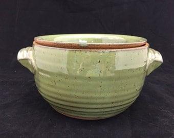 "6"" dia. x 4-1/2"" Tall Stoneware Pottery/Ceramic Dip Crock in Jade Green High Fire Glaze"