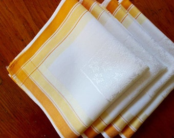 Vintage Damask Linen Napkins Four Lunch Dinner Yellow Gold White Stripes Rayon 4
