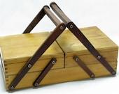 French Sewing Box, Accordian Sewing Box, Folding Sewing Box, Craft Box,  French  Box, Two Tiered Craft Box, Two Tiered Sewing Box (157)