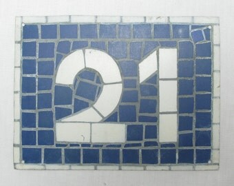 House Number Plate No. 21, Original French Blue and White Sign, Mosaic Signs, French Signs, French House Number Plate, Blue and White (081)