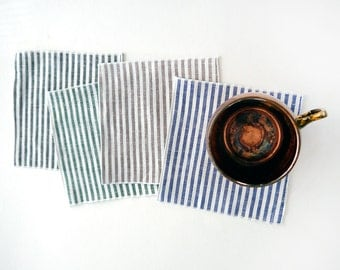 Cotton Linen Stripe Cloth Cocktail Napkins, Green, Blue, Black or Latte Brown, SET of FOUR