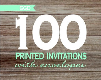 100 Professionally Printed Invitations with Envelopes - 5x7