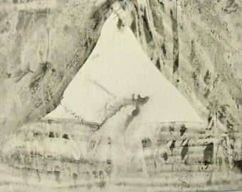 Black and White Mysterious Artwork on a Postcard P915