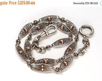 SALE Gorgeous French Victorian Sterling Silver and Gold Filgree Chain