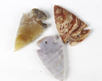 "1.5"" DRILLED Agate Arrowheads Stone Knapped Arrowhead Spear Point Reproductions"