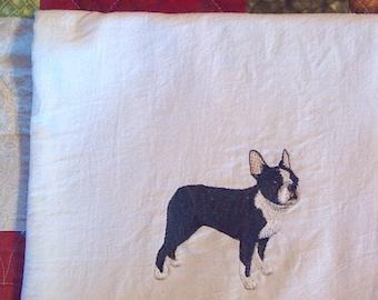 Machine Embroidered Boston Terrier Flour Sack Dish Towel