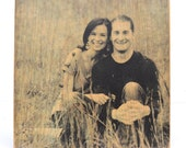 personalized girlfriend gift Reclaimed Wood Photo. Wooden anniversary couples portrait Anniversary Photo on Wood Wooden photograph.