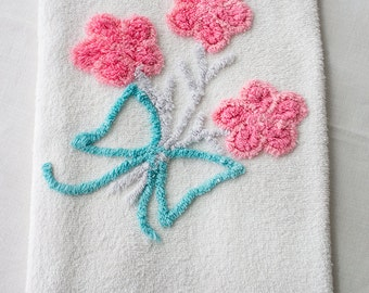 Pink Flower Bouquet with Blue Bow Chenille Hand Towel
