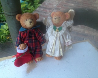 Set of Two Vintage Resin Christmas Bears, Vintage Christmas Home Decor, Kitschy Christmas